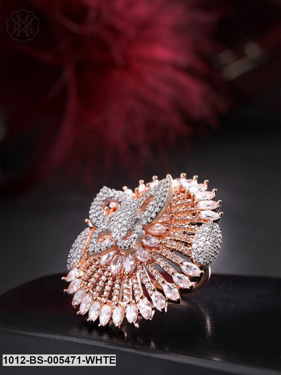 Priyaasi Rose Gold-Plated CZ-Studded Butterfly Shaped Handcrafted Adjustable Ring