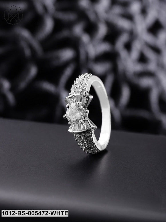 Priyaasi Silver-Plated CZ-Studded Handcrafted Ring