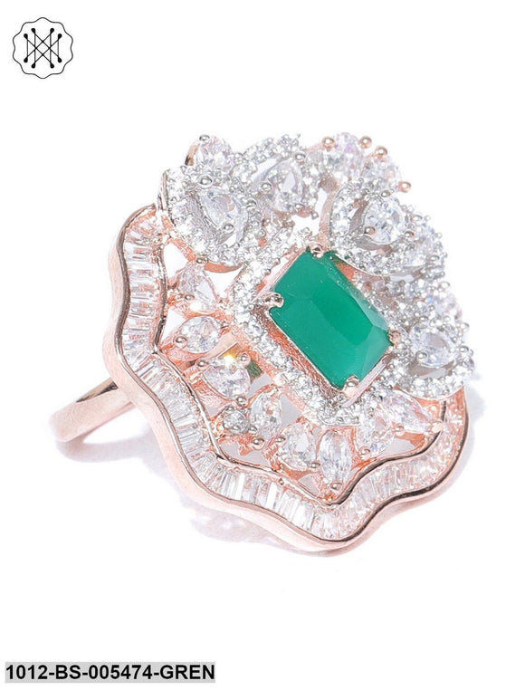 Priyaasi Designer Handcrafted CZ Studded Gold Plated Green And White Party Wear Ring