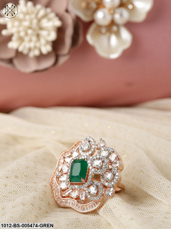 Priyaasi Green Rose Gold-Plated CZ-Studded Handcrafted Adjustable Ring