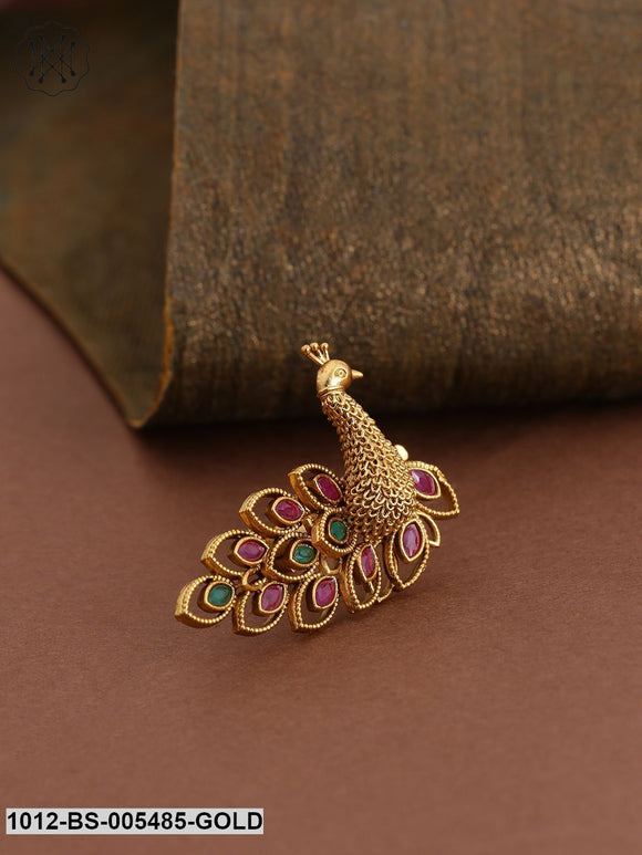 Priyaasi Pink & Green Antique Gold-Plated Peacock Handcrafted Adjustable Finger Ring