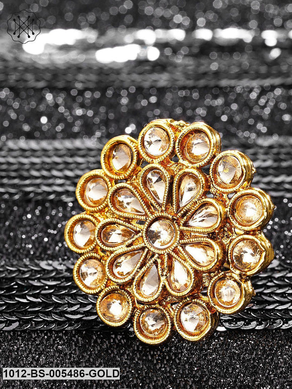 Priyaasi Rose Gold-Toned Gold-Plated Kundan-Studded Antique Adjustable Ring