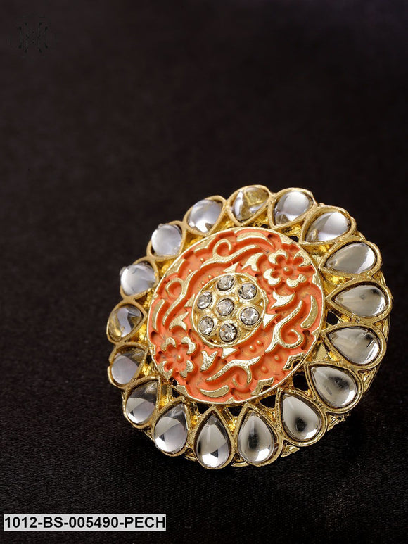 Priyaasi Peach-Coloured Gold-Plated Kundan-Studded Hand Painted Adjustable Ring