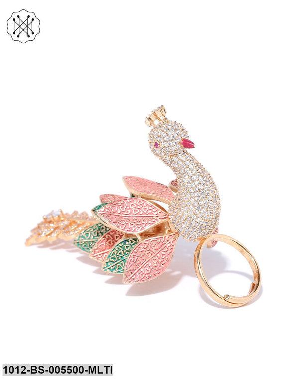 Priyaasi Gold Plated AD Studded Pink And Green 3D Peacock Inspired Adjustable Ring