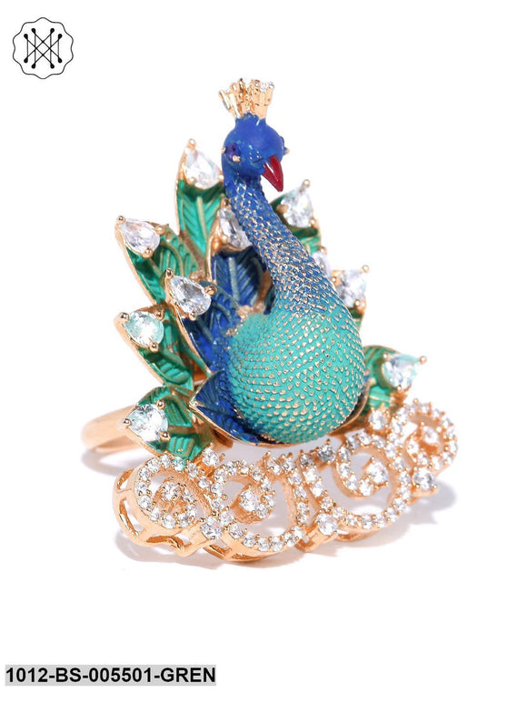 Priyaasi Gold-Plated AD Studded Peacock Inspired Green Adjustable Finger Ring