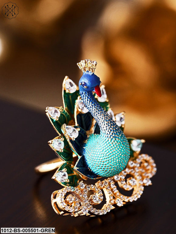Priyaasi Green Rose Gold-Plated Ad Peacock Shaped Handcrafted Adjustable Finger Ring