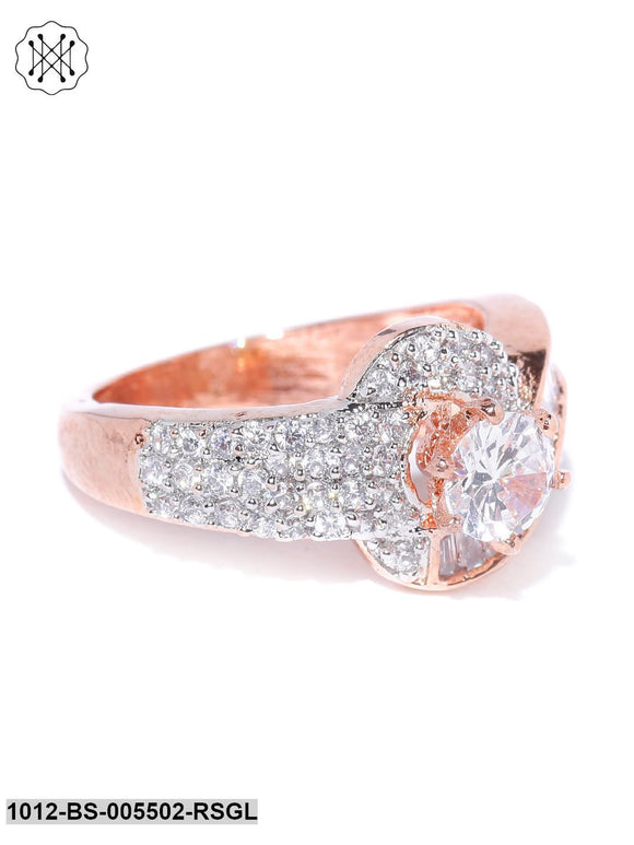 Priyaasi Rose Gold-Plated American Diamond Studded Royal Style Finger Ring