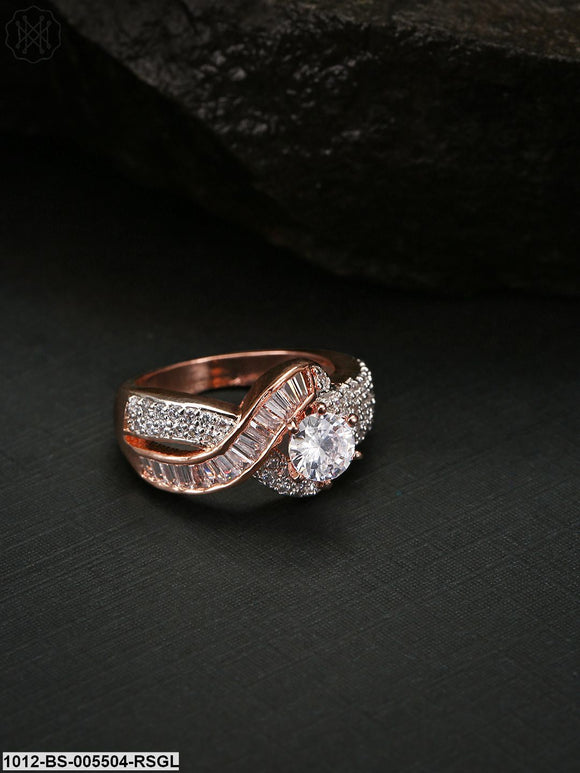 Priyaasi Rose Gold-Plated American Diamond Studded Handcrafted Finger Ring