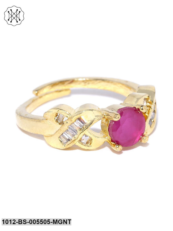 Priyaasi Gold-Plated AD & Maroon Stone Studded Party Wear Adjustable Ring