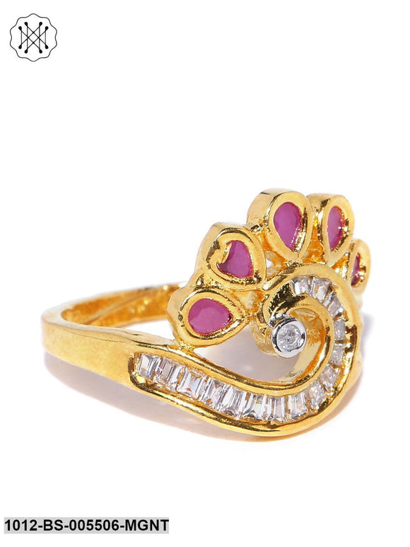 Priyaasi Gold Plated AD And Maroon Stone Studded Peacock Inspired Finger Ring