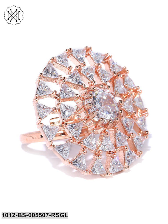 Priyaasi Rose Gold Plated Geometric Shape AD Studded Patty Adjustable Finger Ring