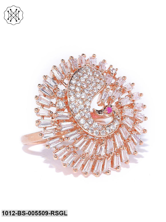 Priyaasi Rose Gold Plated AD Studded Dancing Peacock Inspired Round Ring