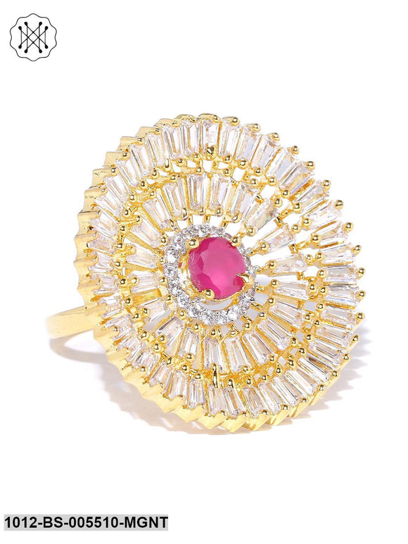 Priyaasi Gold Plated AD And Maroon Stone Studded Round Shape Adjustable Finger Ring