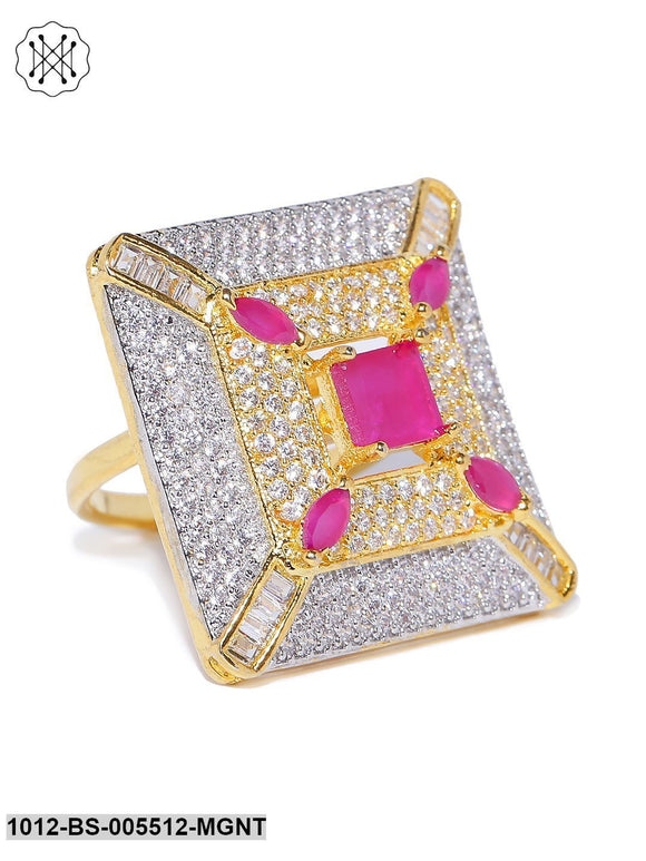 Priyaasi Gold Plated AD And Maroon Stone Studded Square Shape Adjustable Finger Ring