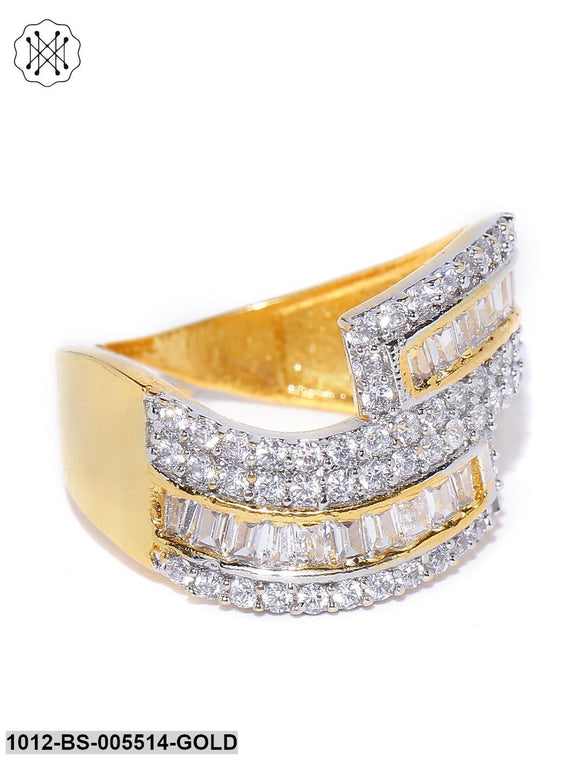 Priyaasi Gold Plated Dual Toned AD Studded Curved Shaped Adjustable Ring