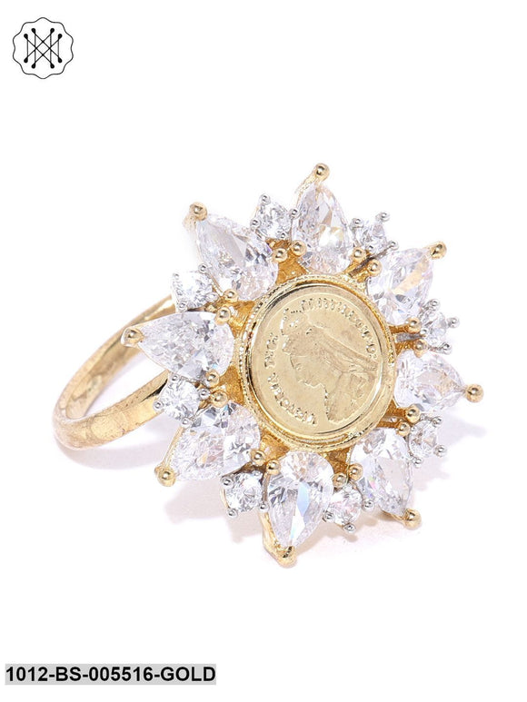 Priyaasi Gold Plated American Diamond Studded Floral Pattern Adjustable Ring