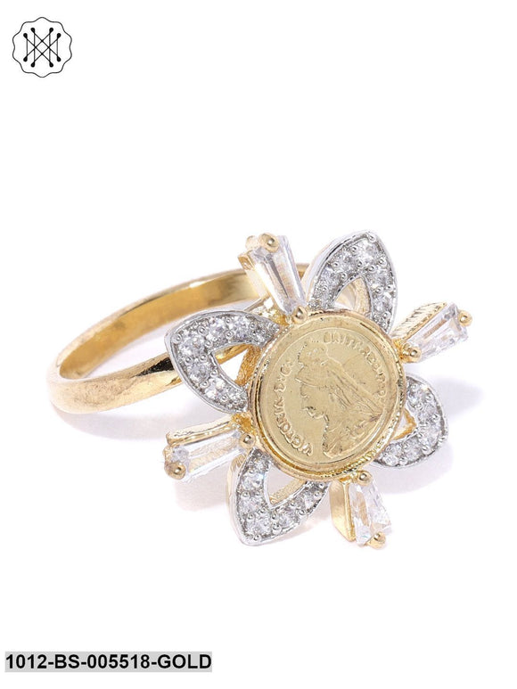 Priyaasi Gold Plated AD And CZ Studded Floral Pattern Adjustable Ring