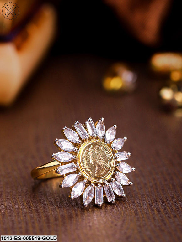 Priyaasi Gold-Plated CZ & Ad-Studded Handcrafted Circular Adjustable Finger Ring