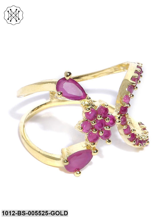 Priyaasi Gold Plated Ruby Studded Floral Pattern Lightweight Party Wear Finger Ring