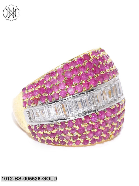 Priyaasi Gold Plated American Diamond And Ruby Studded Party Wear Finger Ring