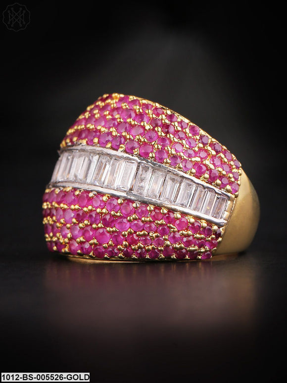 Priyaasi Magenta Gold-Plated Ad Studded Handcrafted Finger Ring-22-Magenta