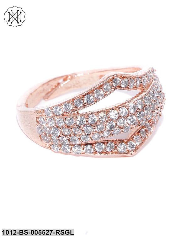 Priyaasi Rose Gold Plated American Diamond Studded Adjustable Finger Ring