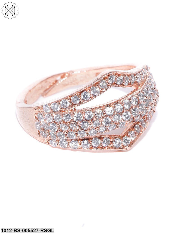 Priyaasi Rose Gold-Plated American Diamond Studded Adjustable Finger Ring
