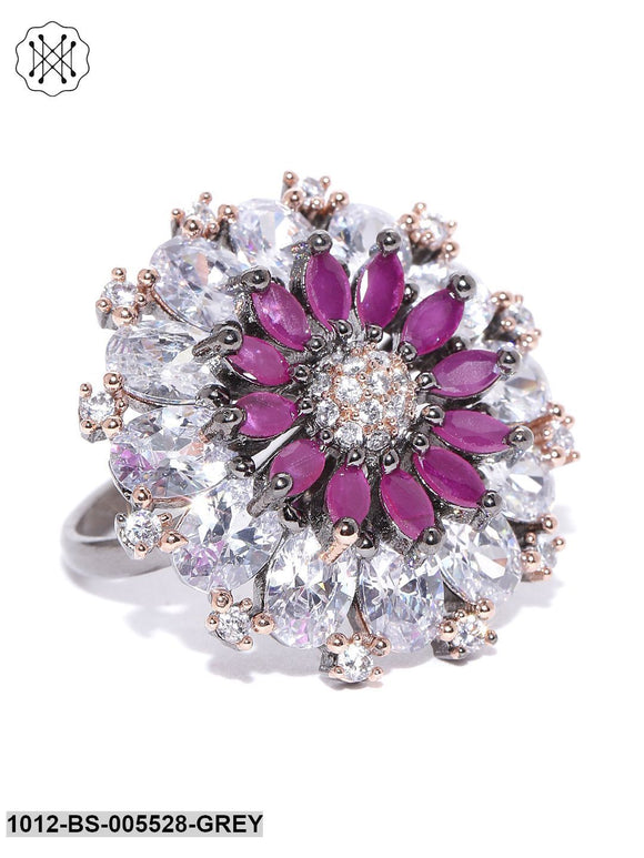 Priyaasi Gunmetal Plated AD And Magenta Stone Studded Floral Adjustable Ring