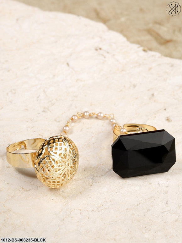 Priyaasi Gold-Toned And  Black Stone-Studded Dual Finger Adjustable Finger Ring