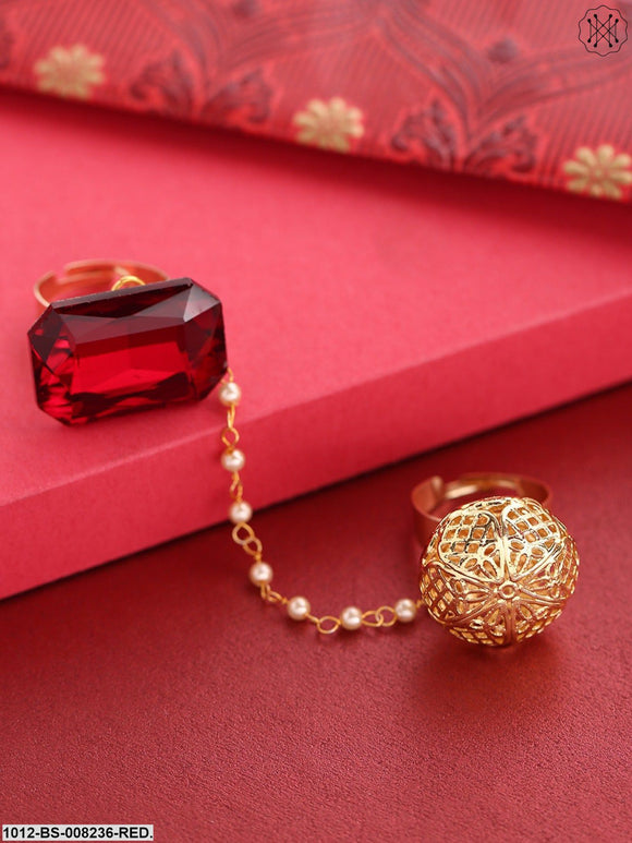 Priyaasi Gold-Toned And Red Stone-Studded Dual Finger Adjustable Finger Ring