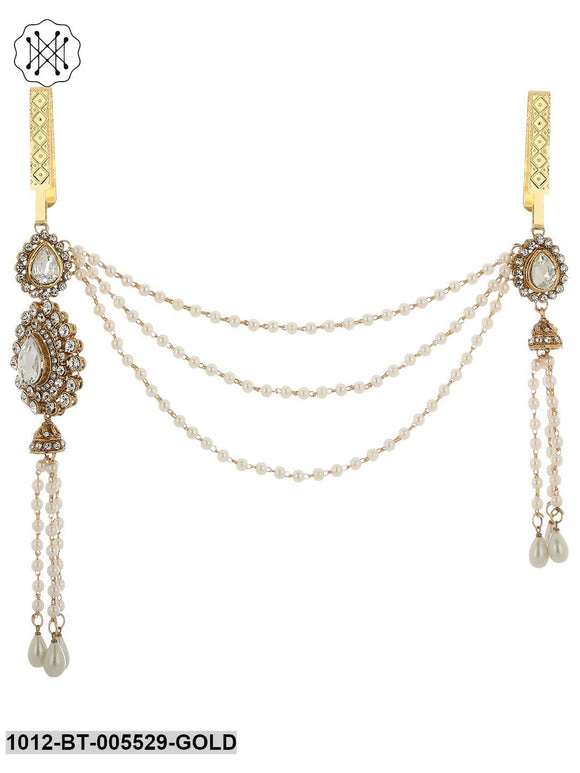 Prita Women Gold Plated & Off White Kundan Studded Pearl Beaded Saree Clip