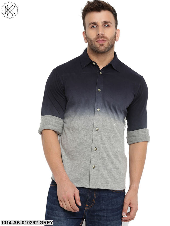 Grey Melange Ombre Dyeing Regular Collar Shirt