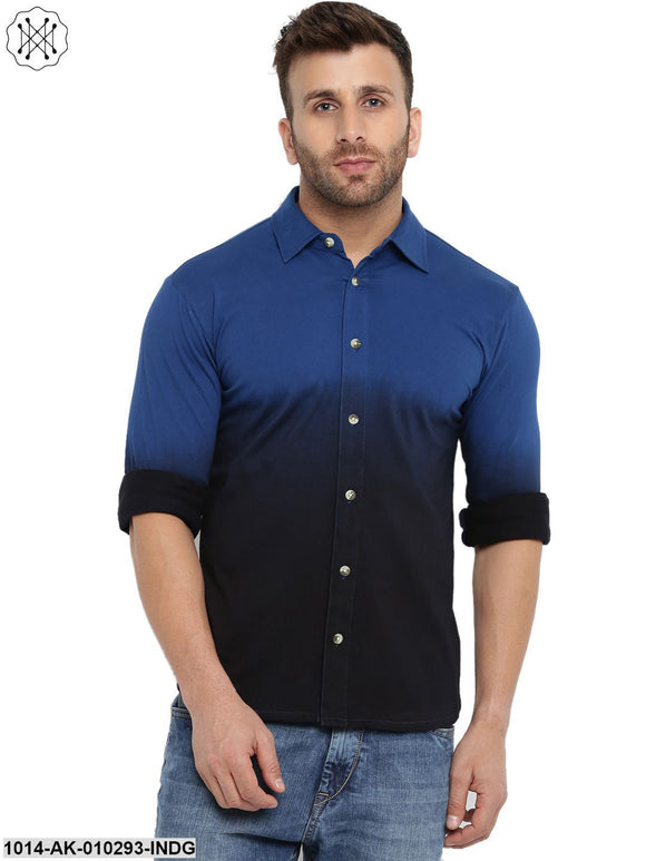 Indigo Ombre Dyeing Regular Collar Shirt