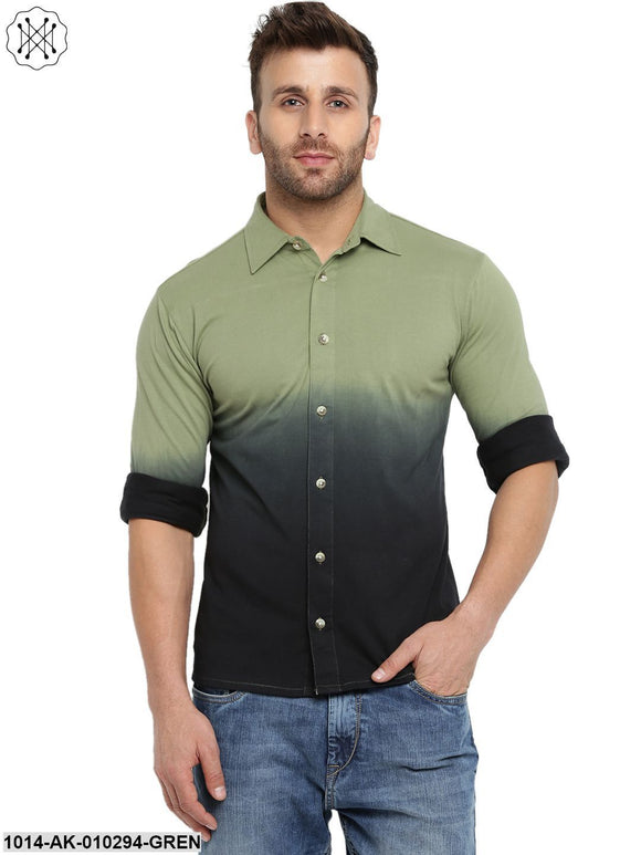 Moss Green Ombre Dyeing Regular Collar Shirt