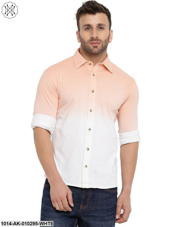 White Ombre Dyeing Regular Collar Shirt