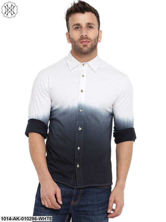 White/Black Ombre Dyeing Regular Collar Shirt
