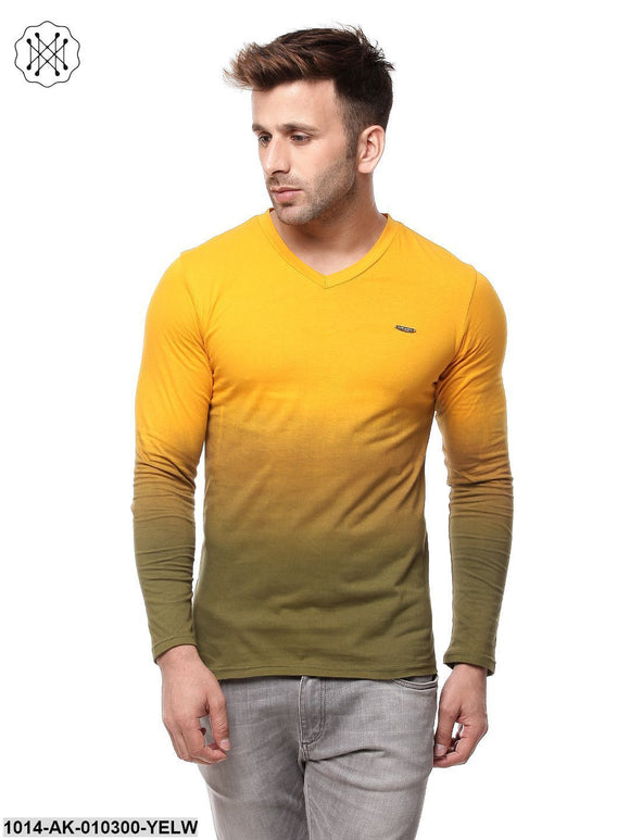 Yellow Ombre DyeingRegular Collar T-Shirt