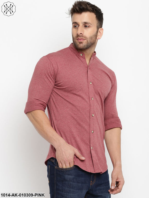 Pink Solid Chinese Collar Shirt