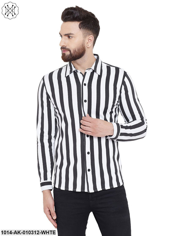 White/Black Printed Regular Collar Shirt