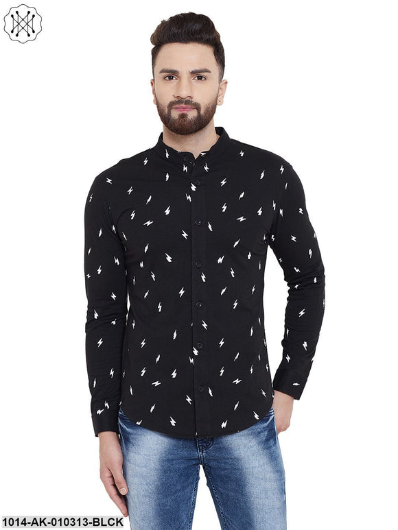 Black Printed Chinese Collar Shirt