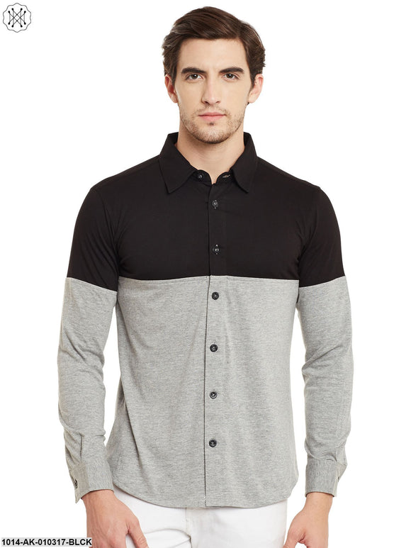 Black/Grey Melange Solid Regular Collar Shirt