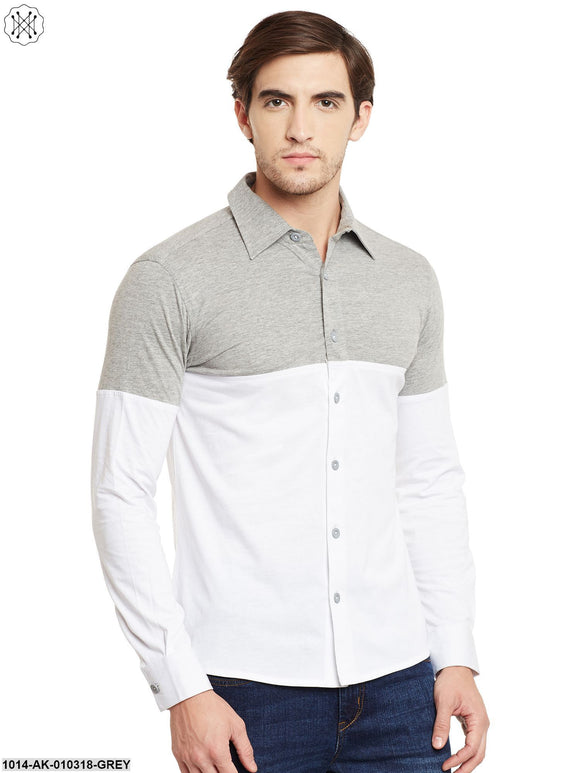 Grey Melange / White Solid Regular Collar Shirt