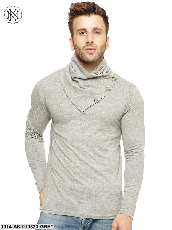 Grey Melange Printed Round Neck T-Shirt