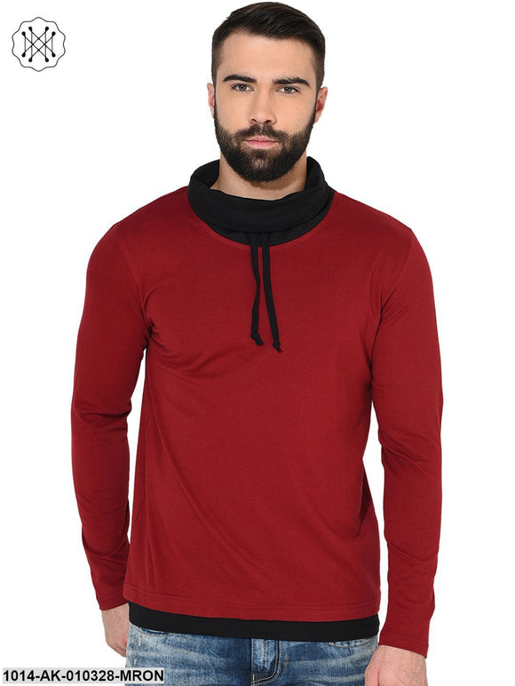Maroon/Black Solid Round Neck T-Shirt