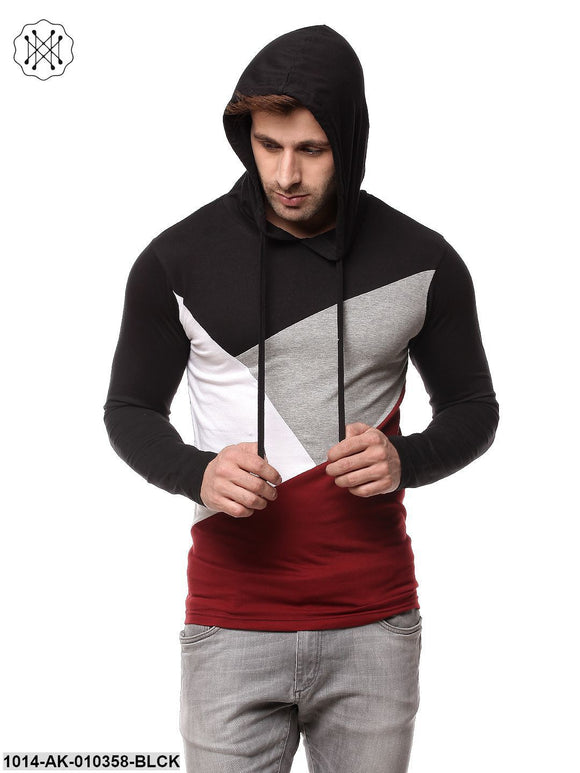 Black/Maroon Solid Hooded T-Shirt