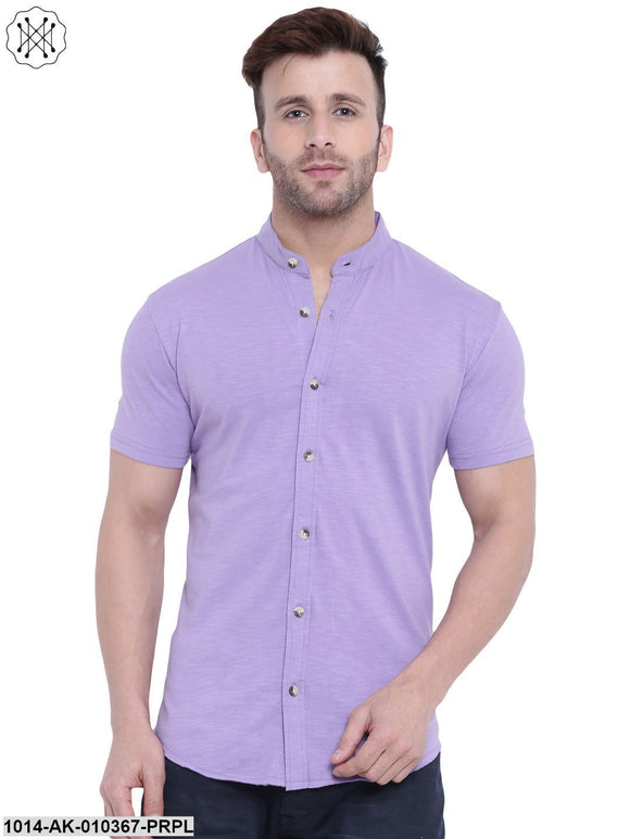 Purple Solid Chinese Collar Shirt