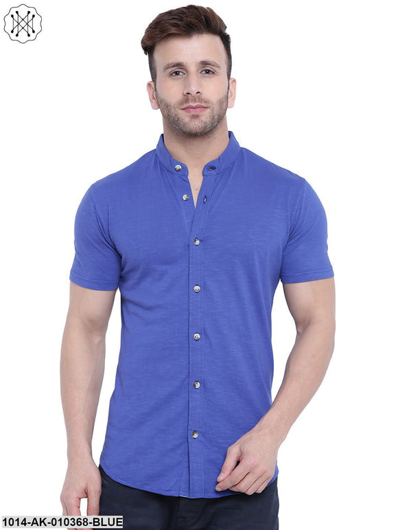 Royal Blue Solid Chinese Collar Shirt