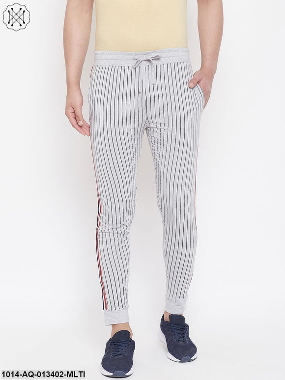Gritstones Grey Melange Slim Fit Striped Joggers With Contrast Taping