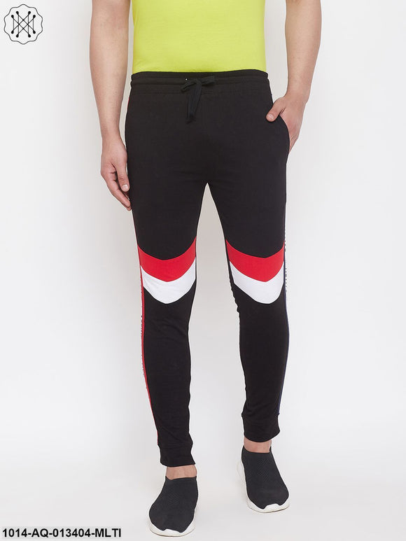Men'S Slim Fit Joggers With Color Block Side Taping