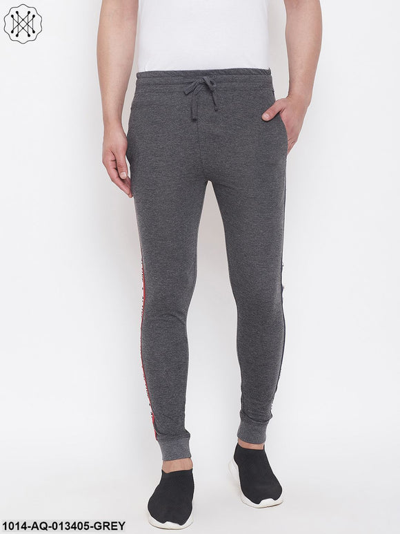 Gritstones Anthramelange Slim Fit Joggers With Side Taping